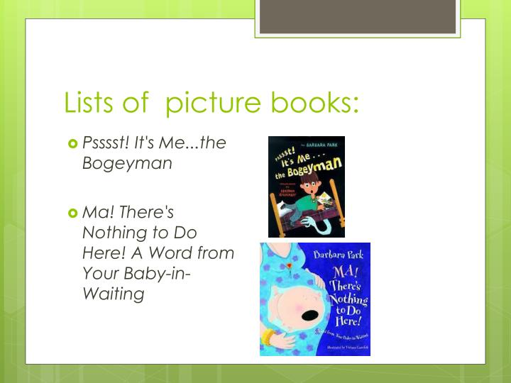 Lists of  picture books:
