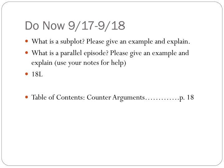 Do Now 9/17-9/18
