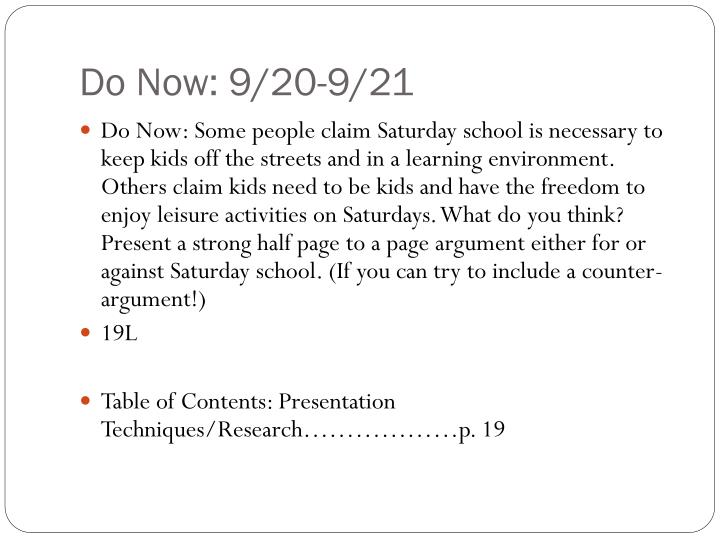 Do Now: 9/20-9/21