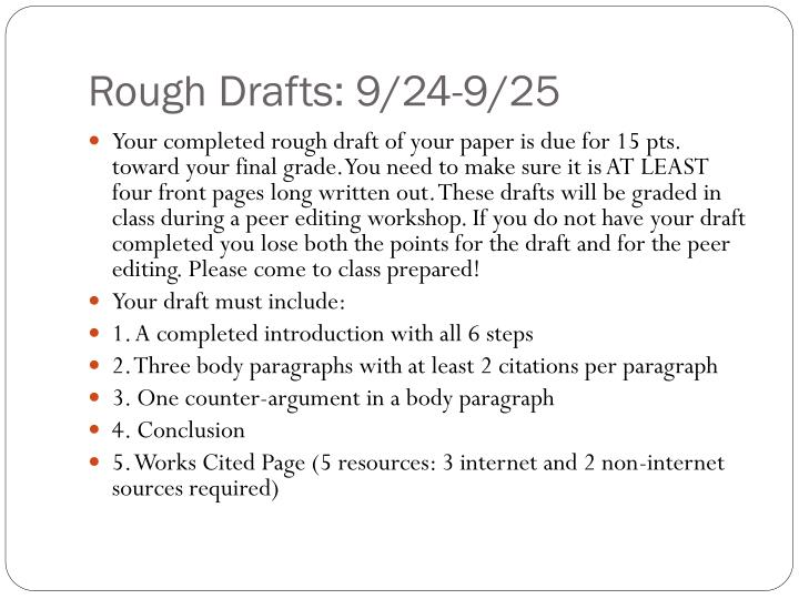Rough Drafts: 9/24-9/25