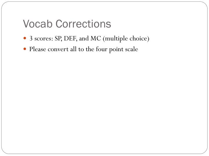 Vocab Corrections