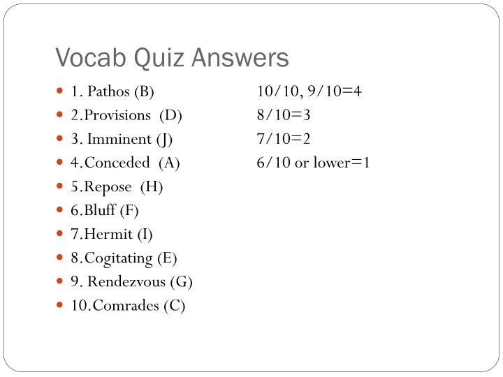 Vocab Quiz Answers