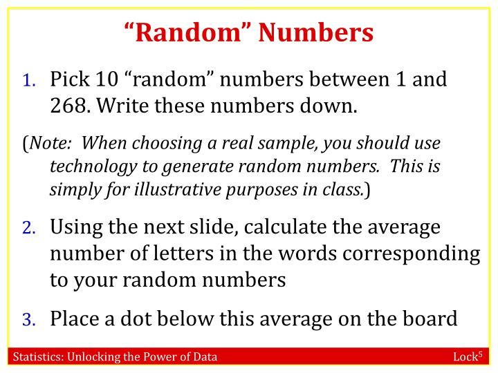 """""""Random"""" Numbers"""