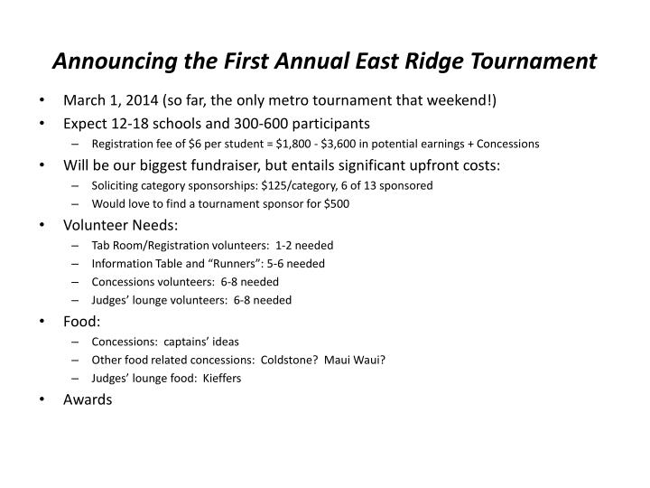 Announcing the First Annual East Ridge Tournament