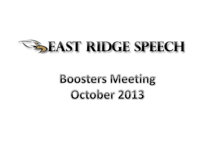 Boosters Meeting