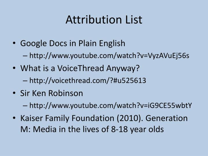 Attribution List