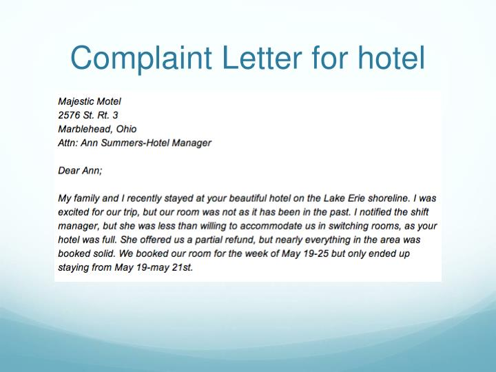 Complaint Letter for hotel