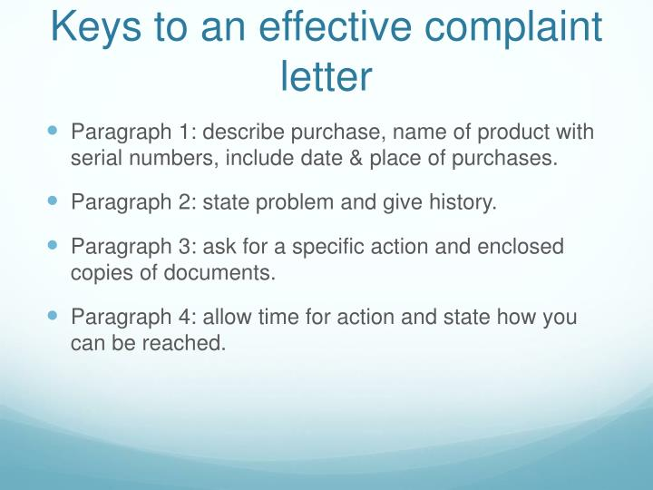 Keys to an effective complaint letter