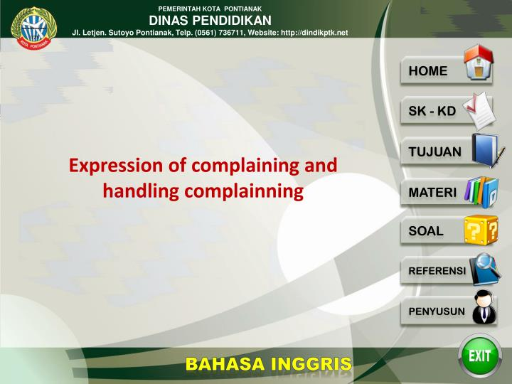 Expression of complaining and handling