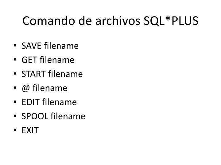 Comando de archivos SQL*PLUS