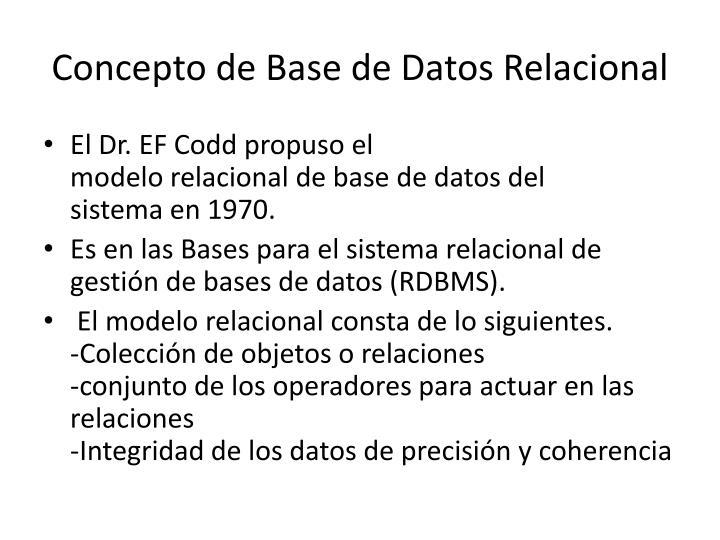 Concepto deBasede Datos Relacional