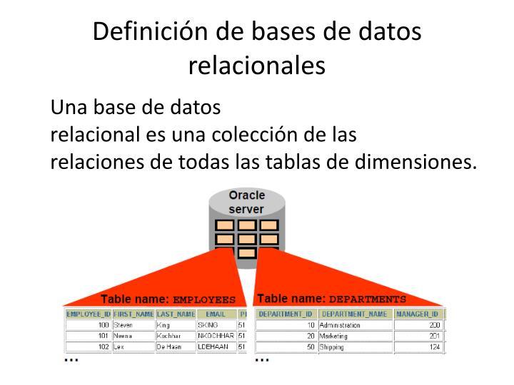 Definicióndebases de datos relacionales