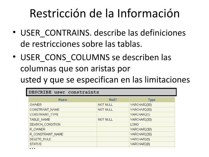 Restricción dela Información