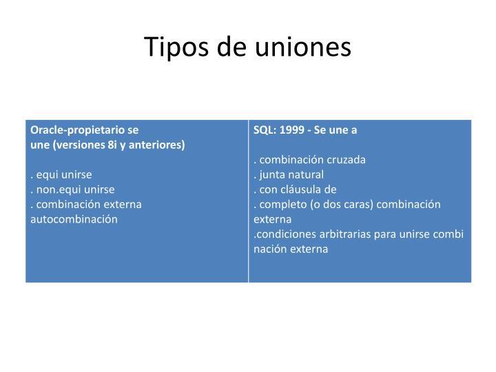 Tiposde uniones