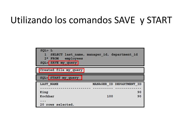 Utilizando los comandos SAVE  y START