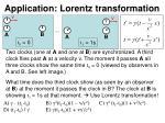 application lorentz transformation