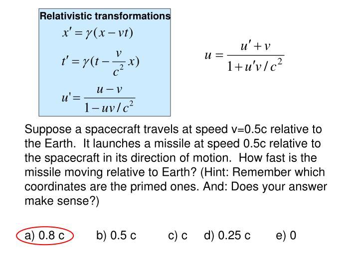 Relativistic transformations