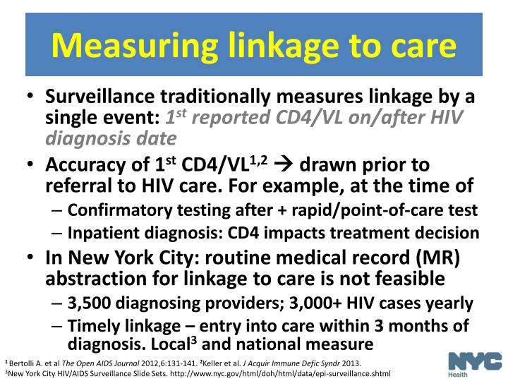 Measuring linkage to care
