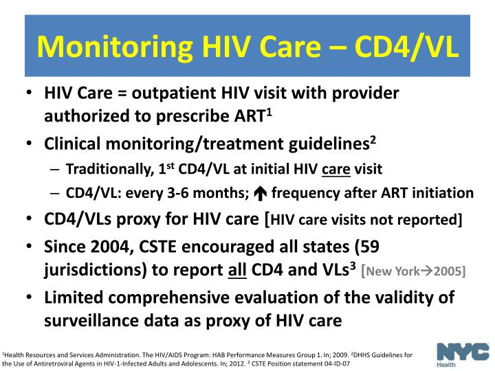 Monitoring HIV Care – CD4/VL