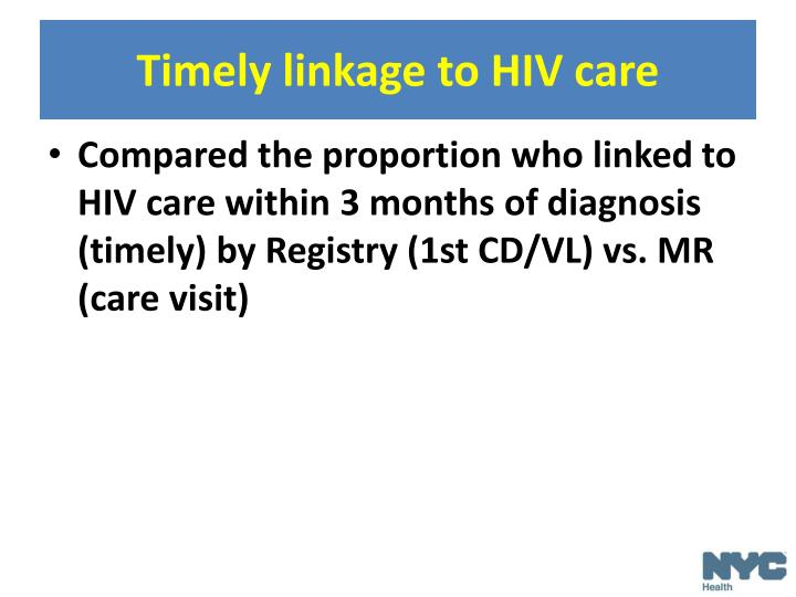 Timely linkage to HIV care