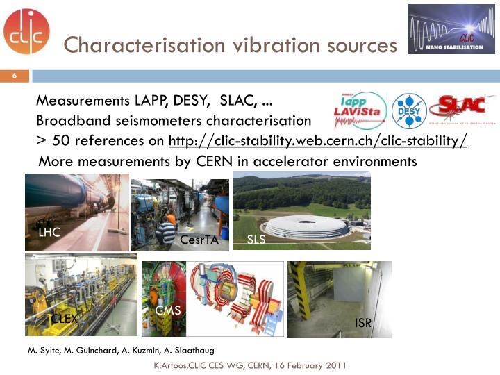 Characterisation vibration sources