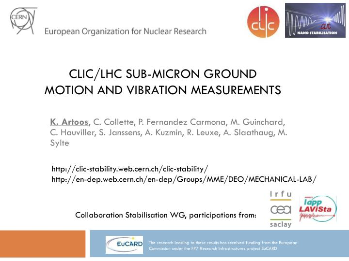 Clic lhc sub micron ground motion and vibration measurements