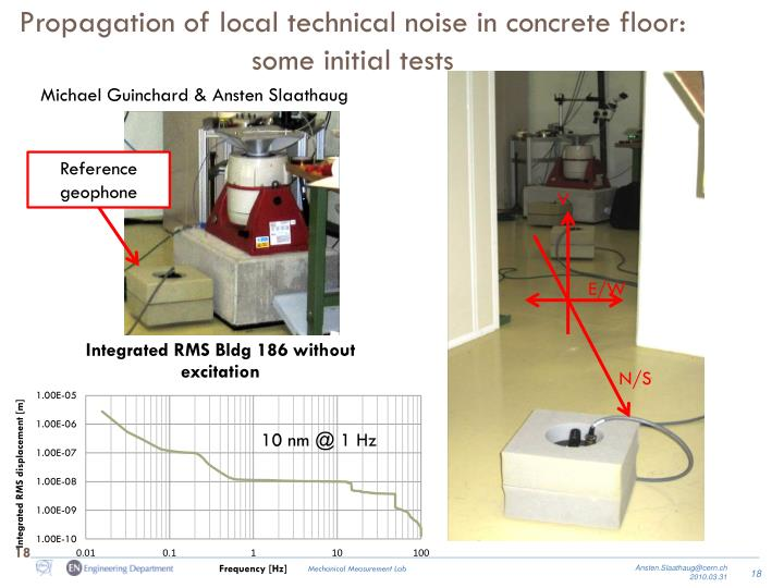 Propagation of local technical noise in concrete floor: