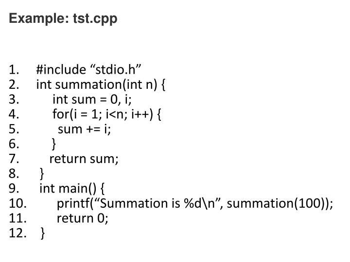 Example: tst.cpp