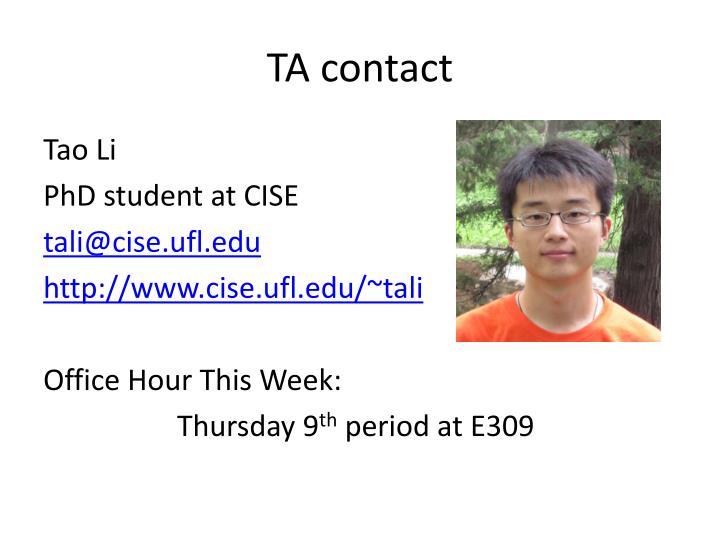 TA contact