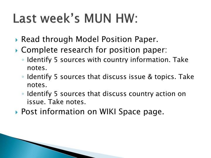 Last week's MUN HW: