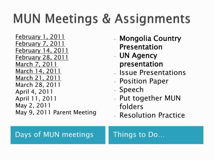 MUN Meetings & Assignments