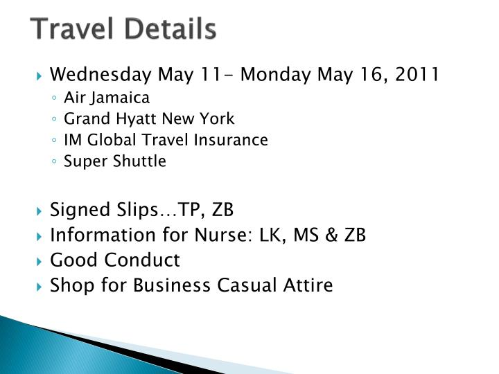 Travel Details