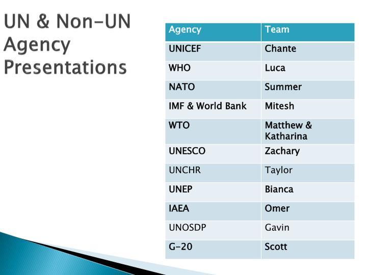 UN & Non-UN Agency