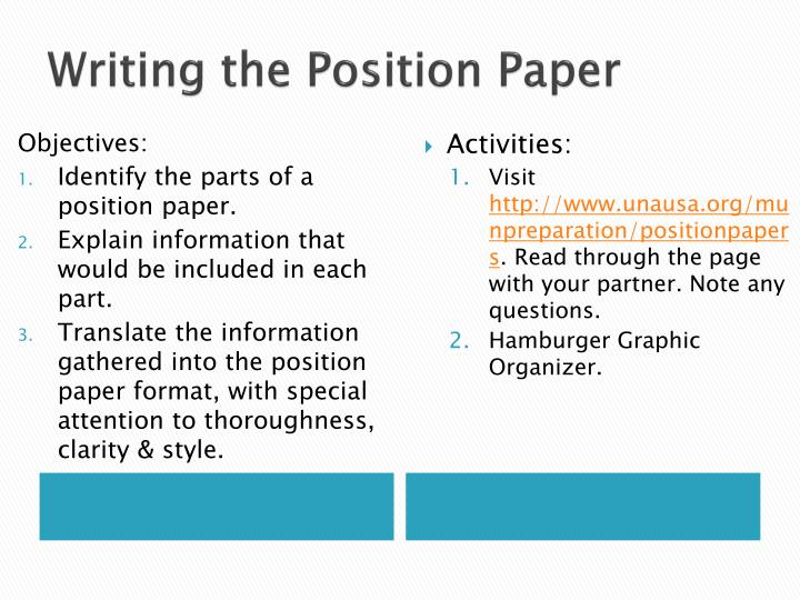 Writing the Position Paper