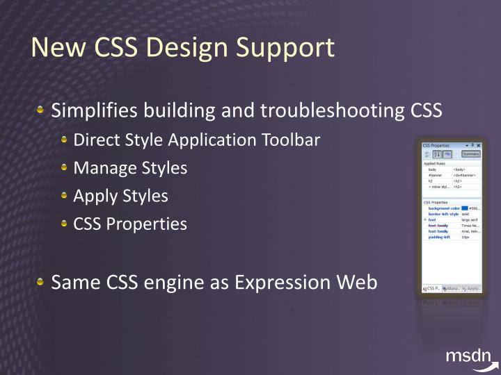 New CSS Design Support