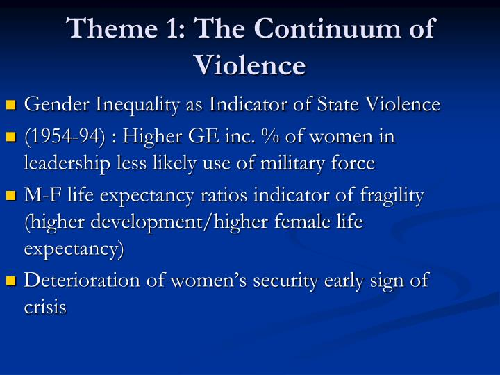 Theme 1 the continuum of violence