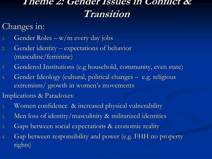 Theme 2: Gender Issues in Conflict & Transition