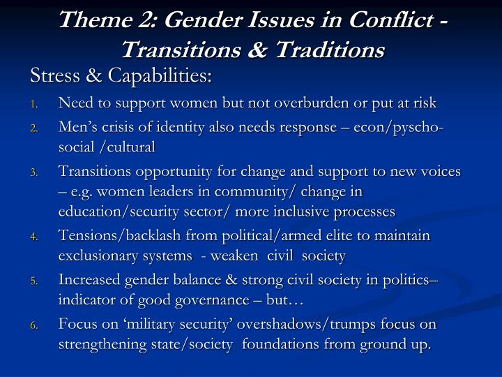 Theme 2: Gender Issues in Conflict -