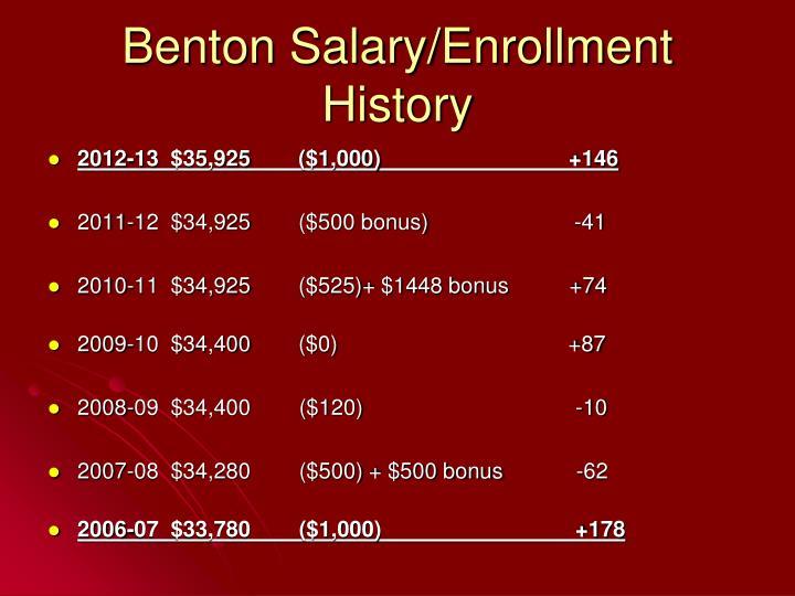 Benton Salary/Enrollment History