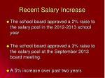 recent salary increase