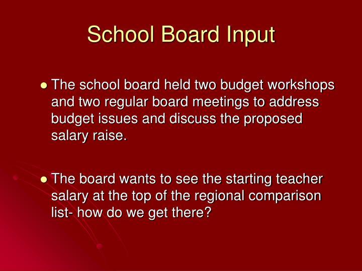 School Board Input