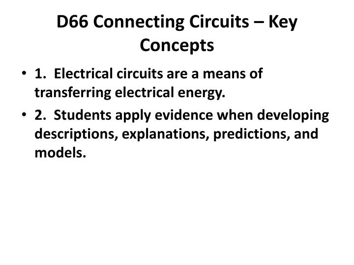 D66 Connecting Circuits – Key Concepts