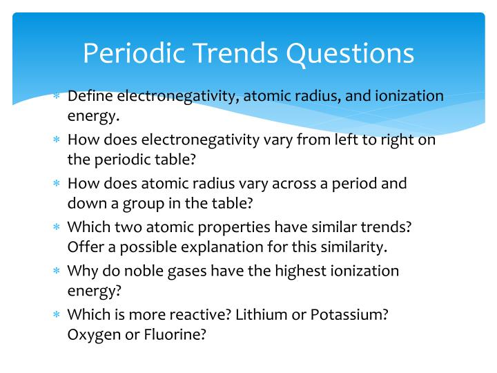 Periodic Trends Questions