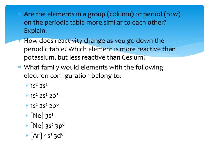 Are the elements in a group (column) or period (row) on the periodic table more similar to each other? Explain.