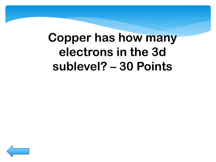 Copper has how many electrons in the 3d sublevel? –