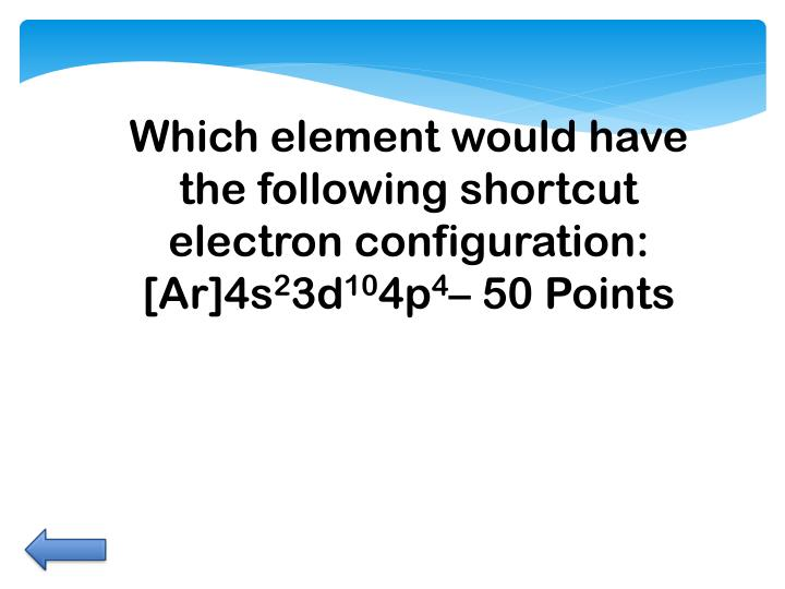 Which element would have the following shortcut electron configuration: [
