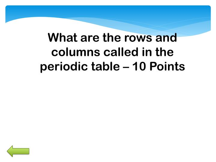 What are the rows and columns called in the periodic table –