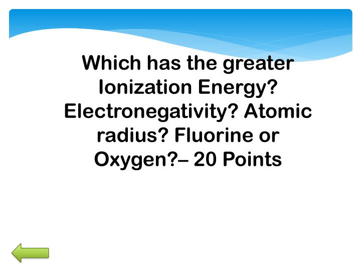 Which has the greater Ionization