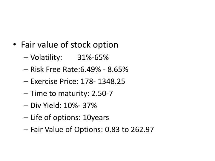 Fair value of stock option