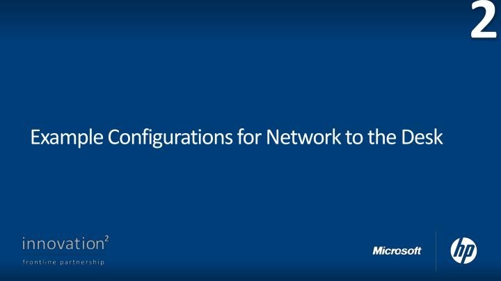 Example configurations for network to the desk
